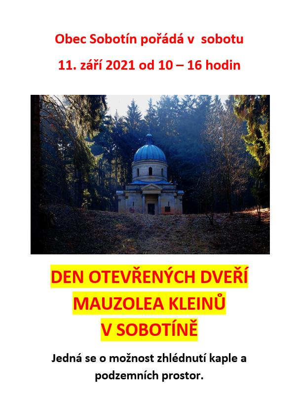 Den otevřených dveří Mauzolea Kleinů v Sobotíně 1